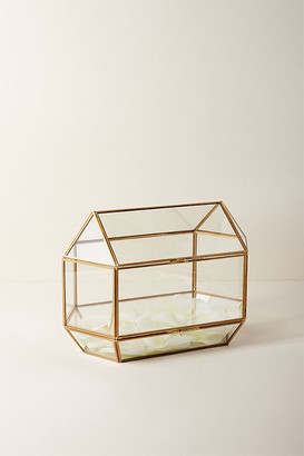 Anthropologie Glass Card Box By in Gold Size ALL