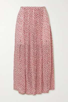 Rixo Georgia Pleated Printed Crepe Midi Skirt