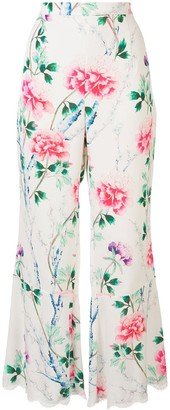 Andrew Gn Floral-Print Flared Trousers