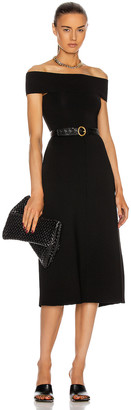 Victoria Beckham Off the Shoulder Midi Dress in Black | FWRD