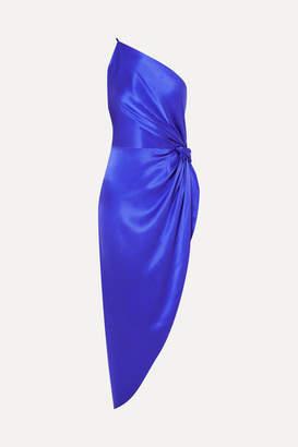 Mason by Michelle Mason One-shoulder Asymmetric Silk-satin Midi Dress - Royal blue