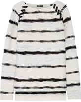 Baja East Striped Cashmere And Wool-blend Sweater - Light gray