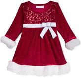 Bonnie Baby Baby Girls' Sequin Velvet Dress with Faux-Fur Trim