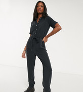 Noisy May Tall utility tie front jumpsuit in black