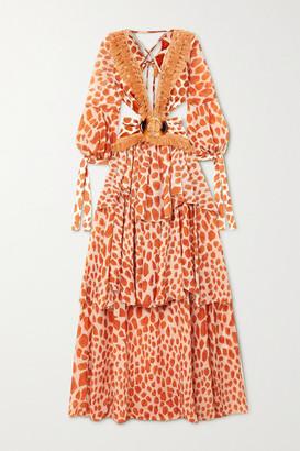 PatBO Margot Cutout Fringed Printed Chiffon And Stretch-jersey Maxi Dress - Orange