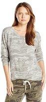 Monrow Women's Neutral Camo Crew Neck Sweatshirt