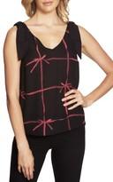 CeCe Women's Lattice Ribbons Bow-Shoulder Sleeveless Blouse