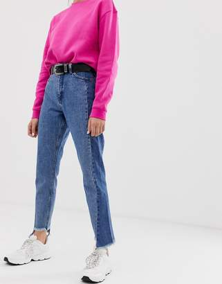 Monki panelled mom jeans-Blue