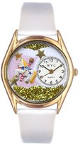Whimsical Watches Kids' C0420006 Classic Gold Carousel White Leather And Goldtone Watch