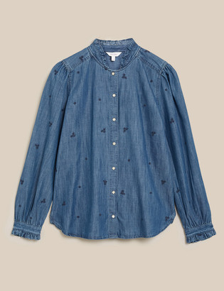 Marks and Spencer Tencel Denim Embroidered Ruffle Blouse