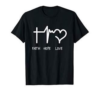 Faith Hope Love Christian T-Shirt Jesus Cross Religious Tee
