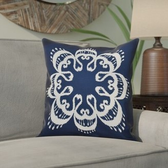 """Bungalow Rose Groth Outdoor Square Pillow Cover & Insert Size: 18"""" x 18"""" , Color: Navy Blue"""