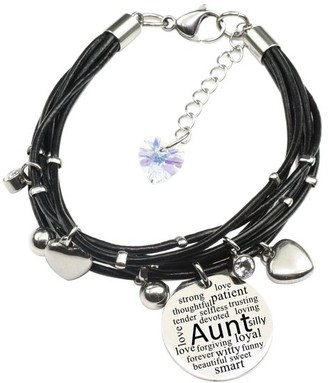 Pink Box Genuine Leather Bracelet made with Crystals from Swarovski - Aunt