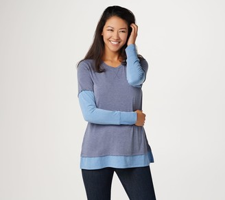 Isaac Mizrahi Live! TRUE DENIM Long Sleeve Layered Knit Top