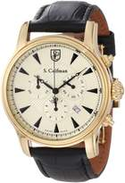 S. Coifman S.Coifman Men's Black Leather Band Steel Case Flame-Fusion Crystal Quartz Champagne Dial Watch SC0222