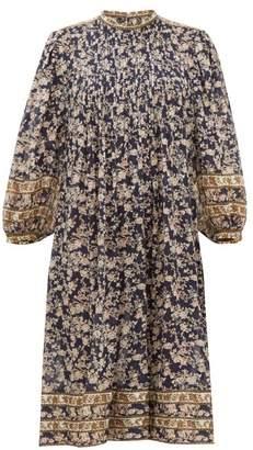 Etoile Isabel Marant Vanille Floral-print Pintuck Pleated Dress - Womens - Navy Multi