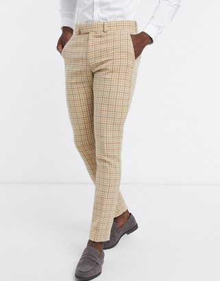 ASOS DESIGN wedding skinny wool mix suit pants in camel houndstooth check