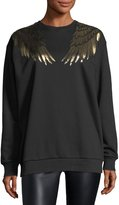 RED Valentino Sweatshirt w/ Gold Lamé Wings