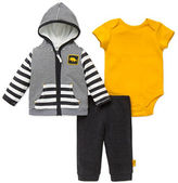 Offspring Three-Piece Cotton Striped Kangaroo Jacket, Solid Roundneck Bodysuit and Solid Pants Set