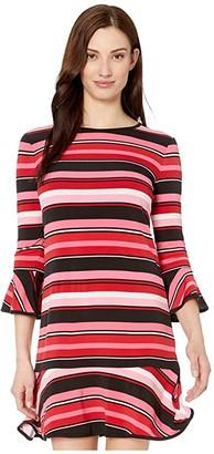 MICHAEL Michael Kors Stripe Flounce Dress (Camelia Rose) Women's Dress