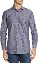 Luciano Barbera Animal-Print Cotton Button-Down Shirt