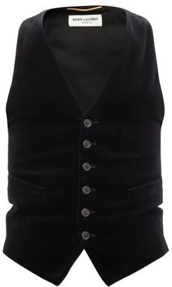 Saint Laurent Cotton-velvet Waistcoat - Black