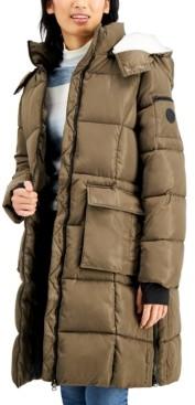 Madden-Girl Juniors' Fleece-Lined Hooded Puffer Coat