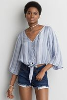 American Eagle Outfitters AE Tie Front Bell Sleeve Shirt