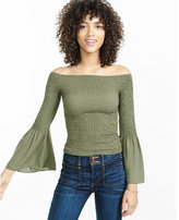 Express smocked off the shoulder bell sleeve blouse