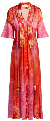 Peter Pilotto Tassel-trimmed Floral-print Stretch-silk Dress - Womens - Red Multi