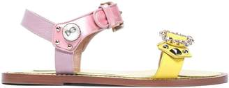 Dolce & Gabbana Satin-trimmed Embellished Color-block Snake-effect Leather Sandals