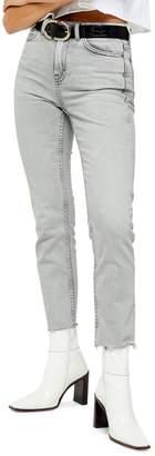 Topshop Grey Raw Hem Straight Jeans 32-Inch Leg