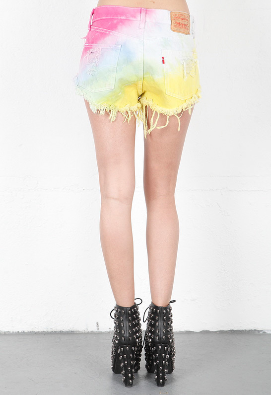 Singer22 Multicolor Studded Shorts in Multi - by RUNWAYDREAMZ