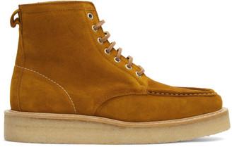 Ami Alexandre Mattiussi Brown Suede Square Toe Lace-Up Boots