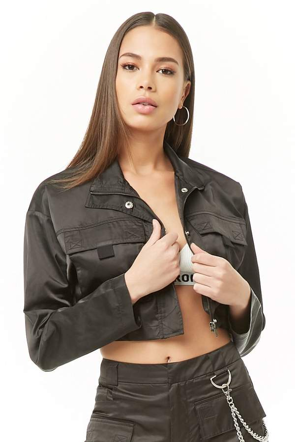 Forever 21 Cropped Zip-Front Jacket