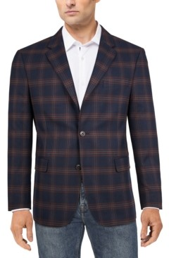 Tommy Hilfiger Men's Modern-Fit Navy/red plaid Sport Coat