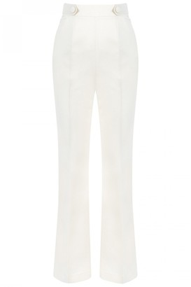 Dice Kayek High Waist Slim Fit Trousers in Off White