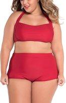 EkarLam® Chic Women Plus Size Bikini Set Hatle Tops High-waisted Swimsuit 4XL