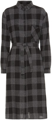 Woolrich Checked wool-blend midi dress
