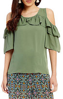 Takara Ruffle Cold-Shoulder Top