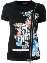 DSQUARED2 newspaper collage zip T-shirt - women - Cotton - L