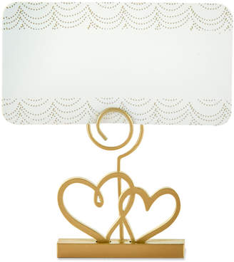 Kate Aspen Gold Double Heart Place Card Holder (Set Of 12)