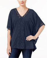 JM Collection Crochet-Trim Poncho Top, Only at Macy's