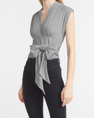 Express Metallic Ribbed Wrap Front Tie Tank