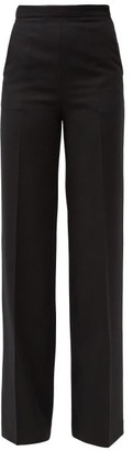 Giambattista Valli High-rise Virgin Wool-twill Wide-leg Trousers - Black