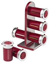 Zevro Zero Gravity Countertop 6 Canister Magnetic Spice Stand - Red