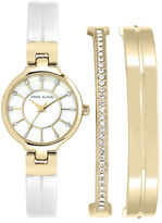 Anne Klein Boxed Goldtone Ceramic Watch with Bangle Bracelets