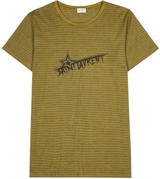 Saint Laurent Striped Logo-print Cotton T-shirt