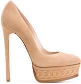 Casadei chain pattern platform pumps - women - Chamois Leather/Leather/Kid Leather - 40