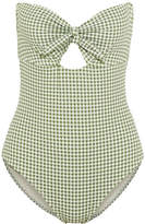 Eberjey Betty Lola Cutout Gingham Bandeau Swimsuit - Light green